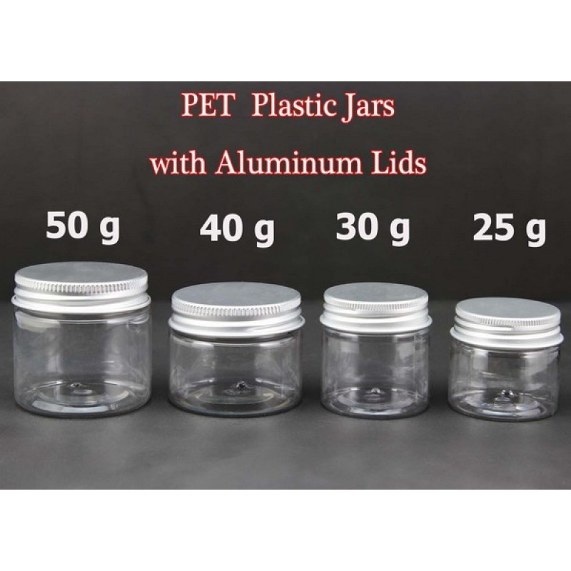 Small Pet Clear Jars With Silver Lids 25g 30g 40g 50g